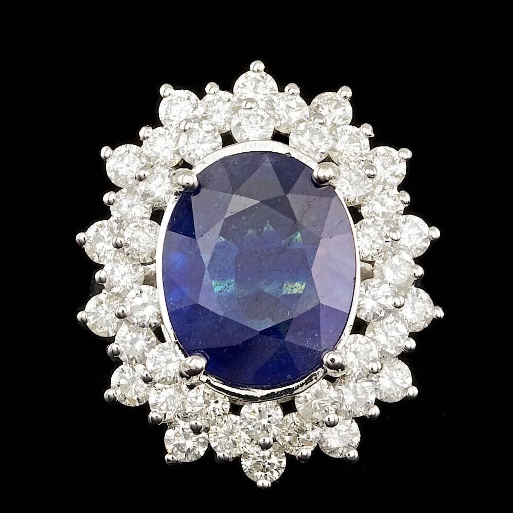 14k Gold 8.50ct Sapphire 3.00ct Diamond Ring