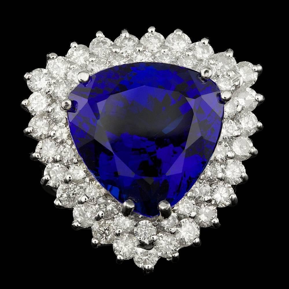 18k Gold 17.00ct Tanzanite 3.00ct Diamond Ring