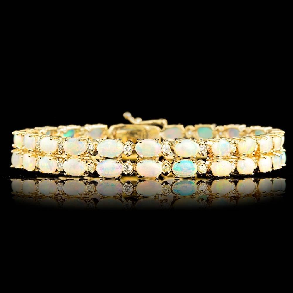14k Gold 10.50ct Opal 1.15ct Diamond Bracelet