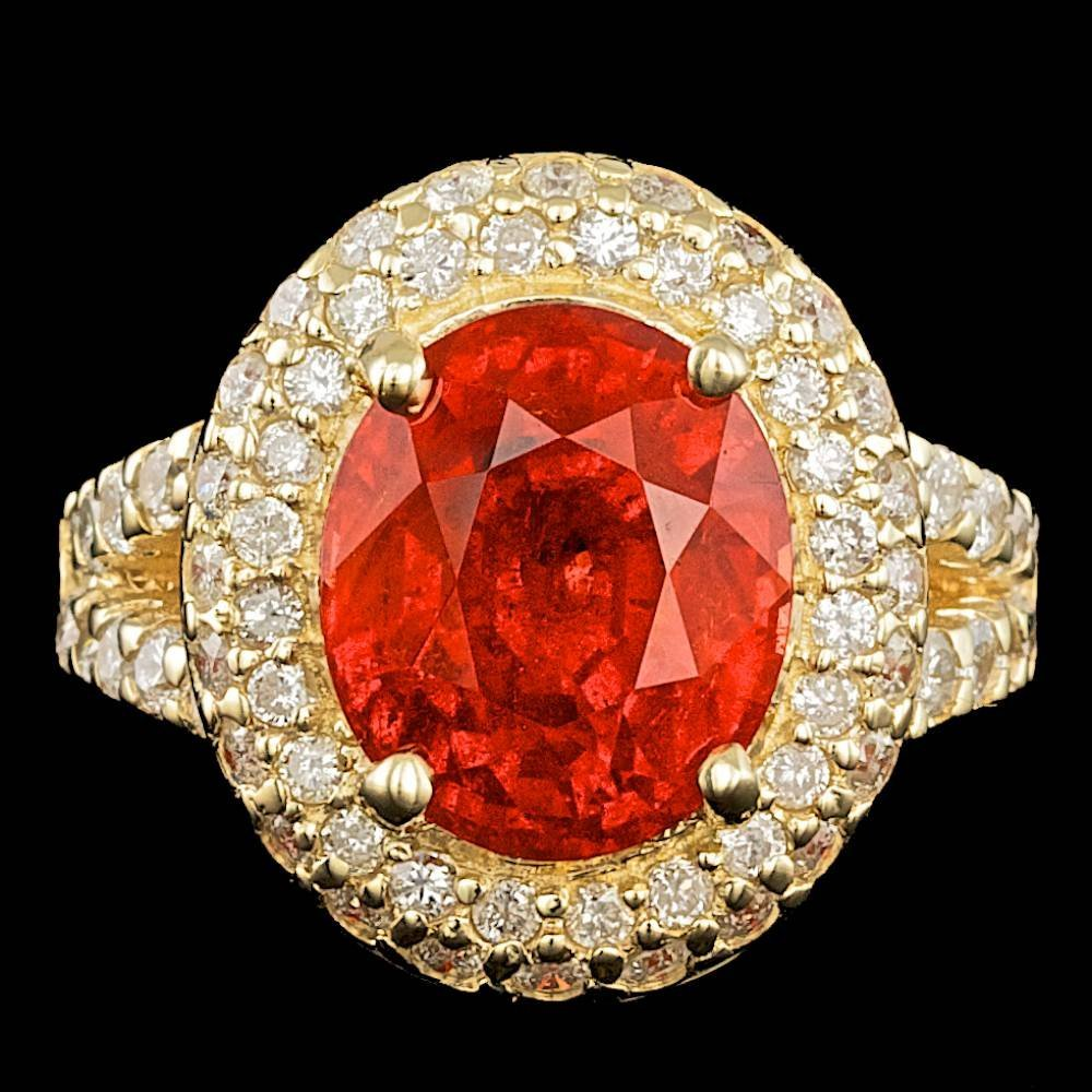 14k Gold 10.00ct Garnet 1.55ct Diamond Ring