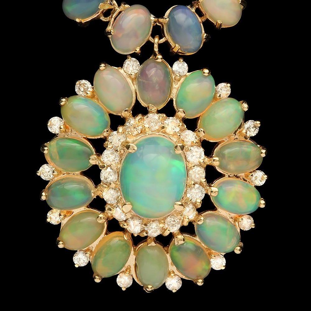 14k Gold 32.00ct Opal 1.00ct Diamond Necklace