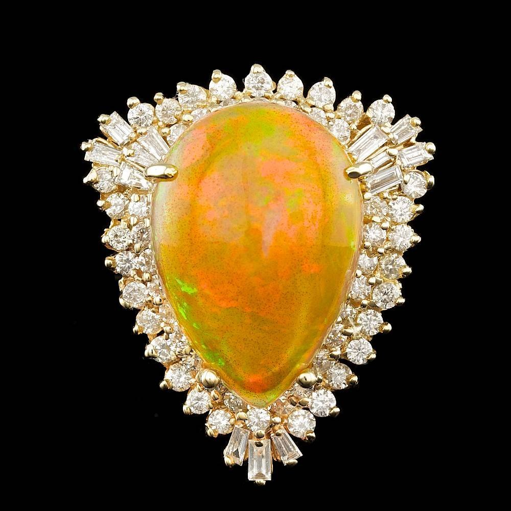 14k Yellow Gold 14.00ct Opal 2.20ct Diamond Ring