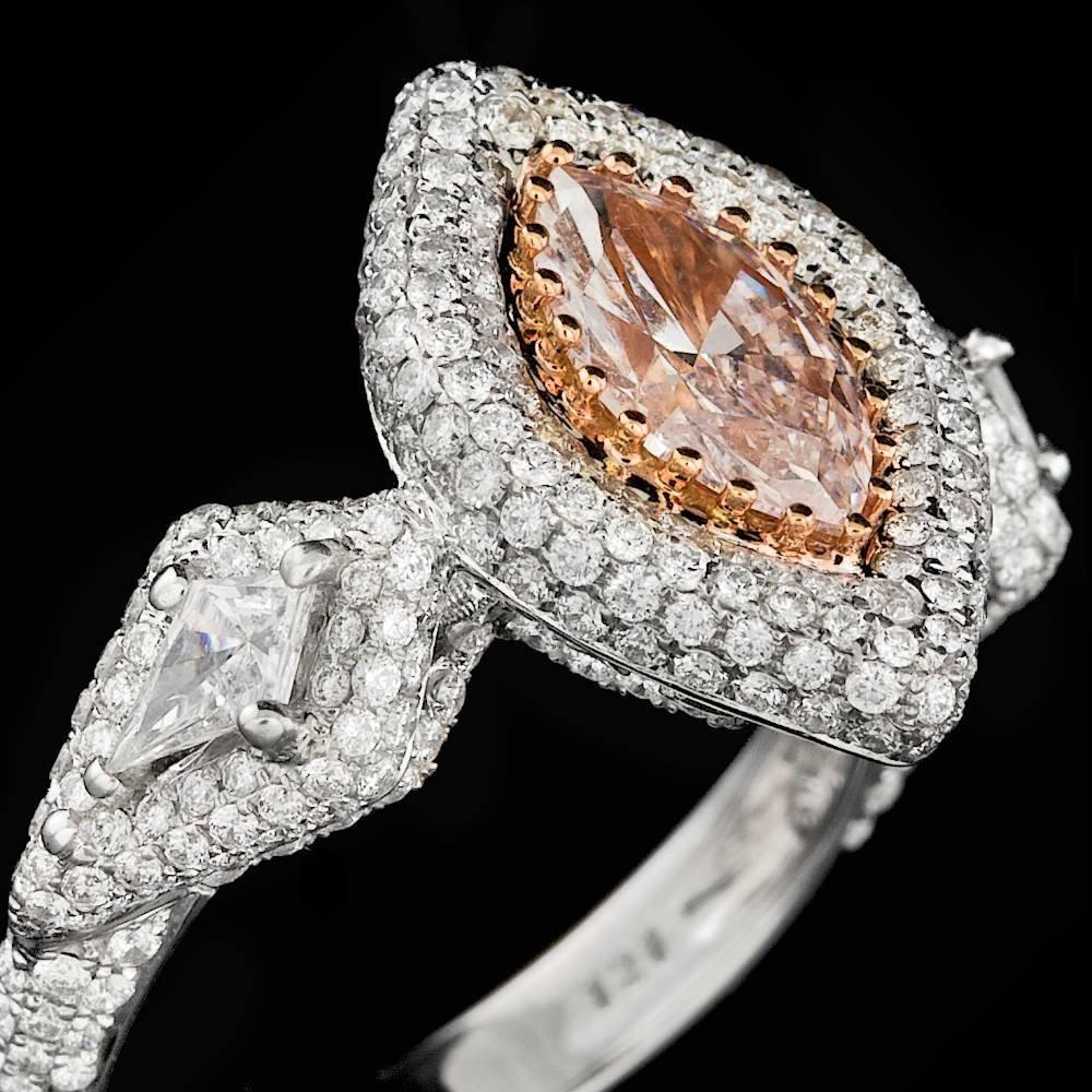 18k Gold 0.96ct Pink 1.45ctw Diamond Ring
