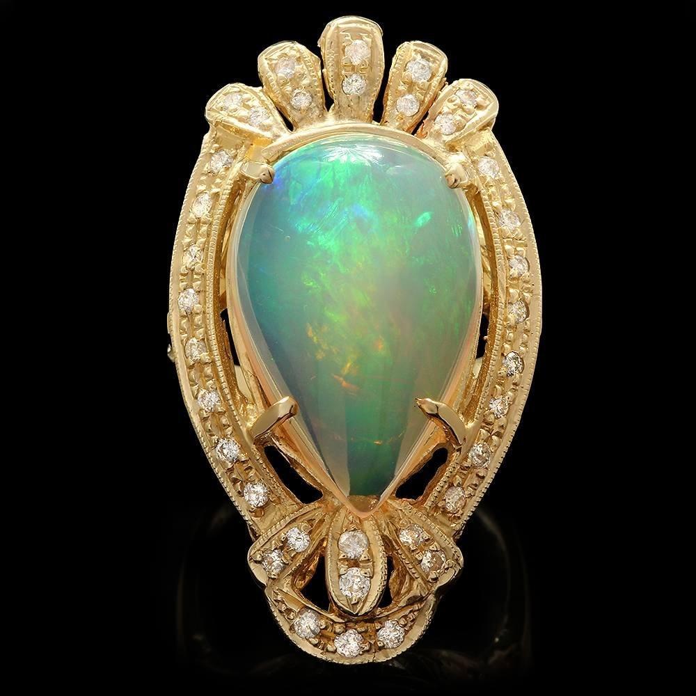 14k Yellow Gold 9.30ct Opal 0.67ct Diamond Ring