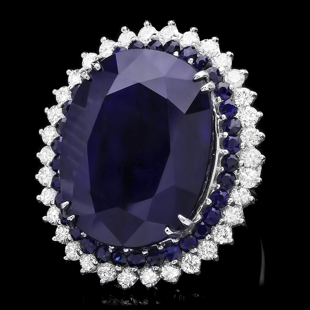 14k White Gold 51ct Sapphire 2.00ct Diamond Ring