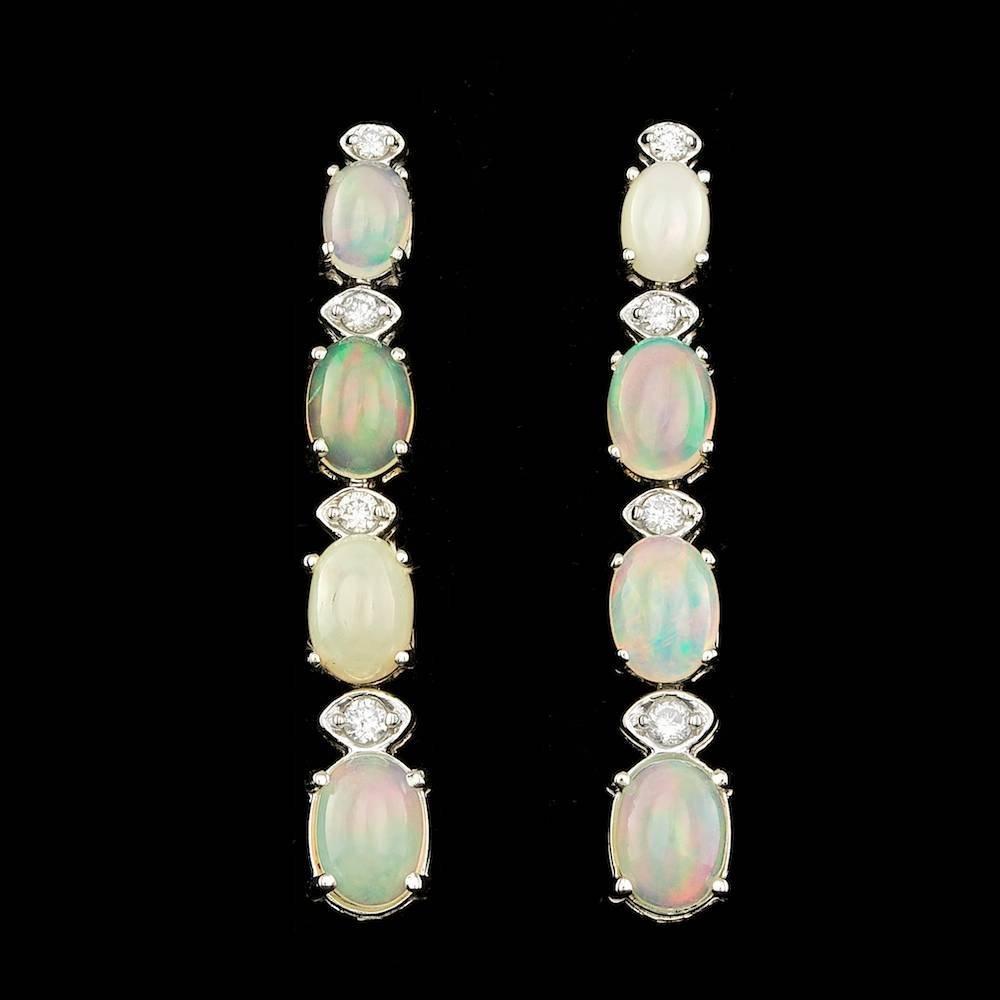 14k Gold 4.00ct Opal 0.20ct Diamond Earrings