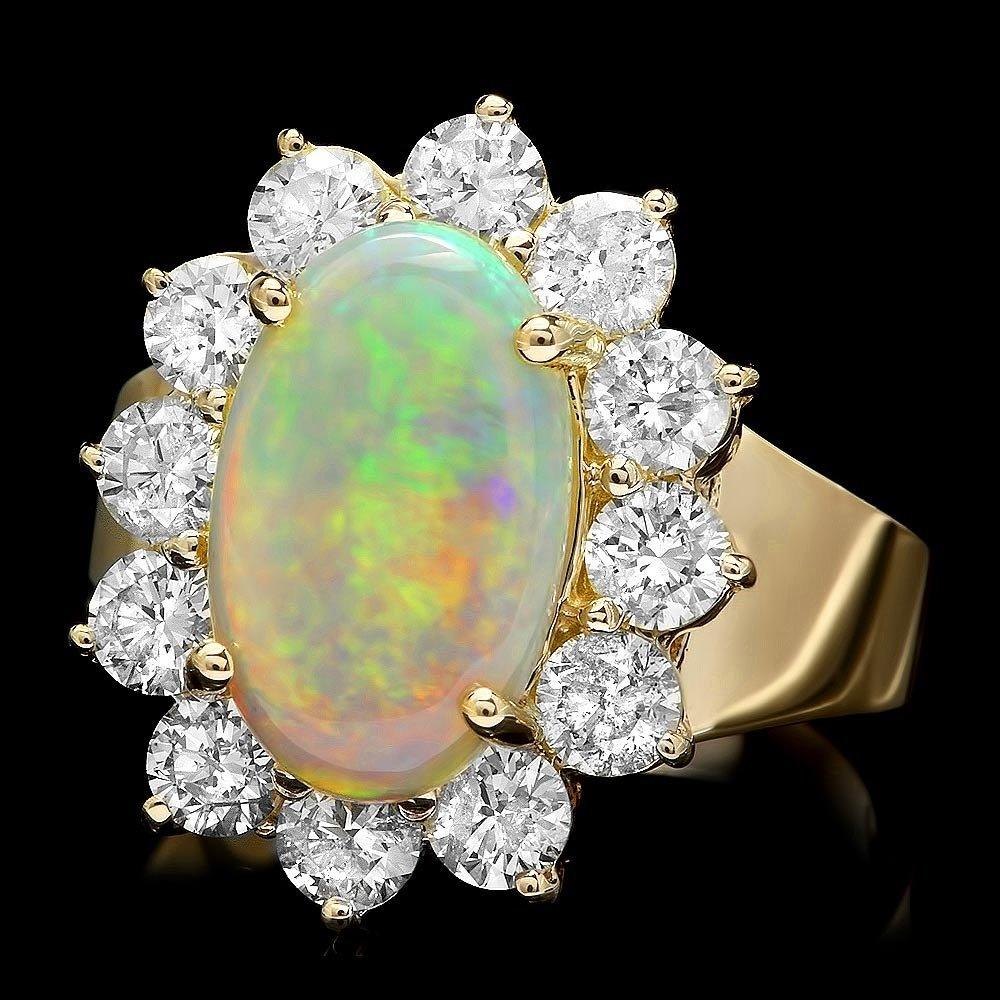 14k Yellow Gold 2.00ct Opal 1.70ct Diamond Ring
