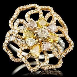 18k Multi-Tone Gold 3ct Diamond Ring