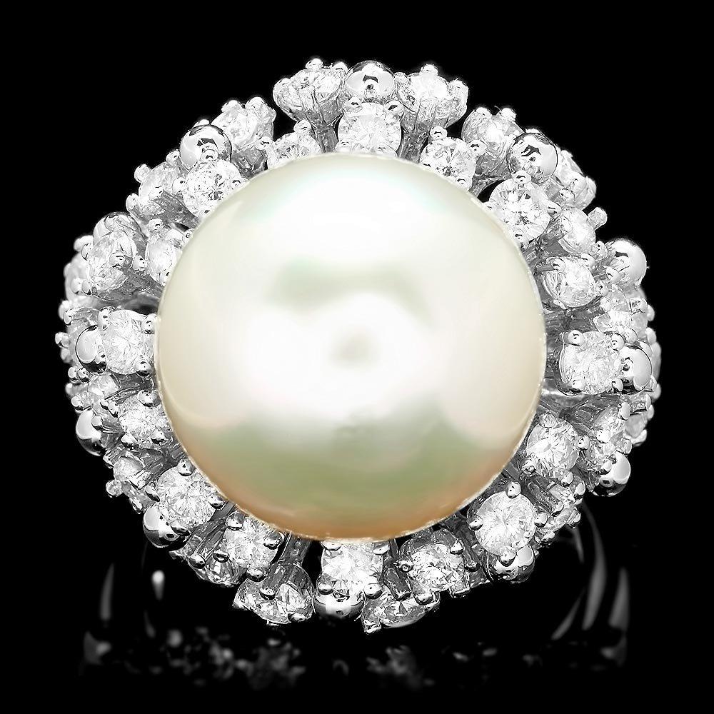 14k White Gold 15mm Pearl 2.55ct Diamond Ring