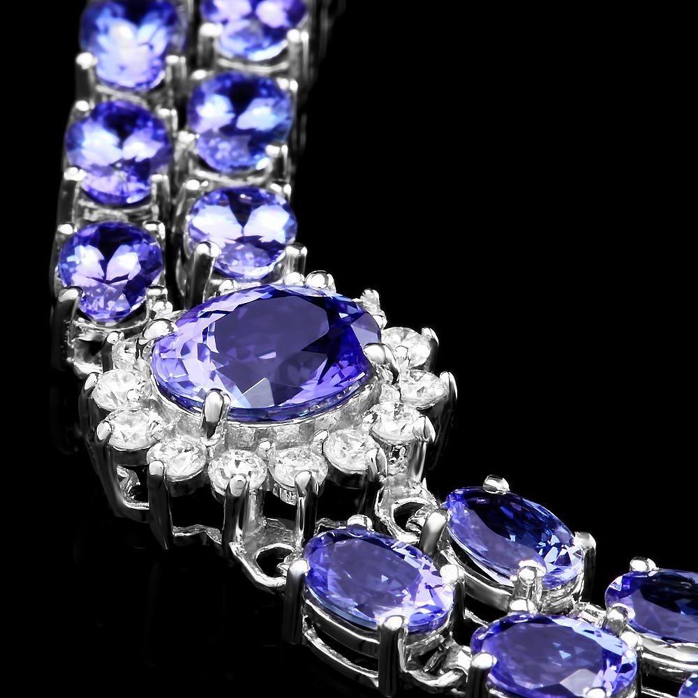 14k 22.00ct Tanzanite 1.70ct Diamond Bracelet