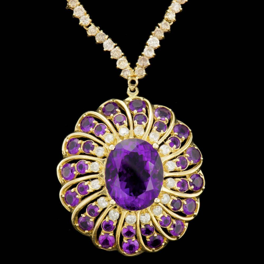 14k 18.75ct Amethyst 12.70ct Diamond Necklace