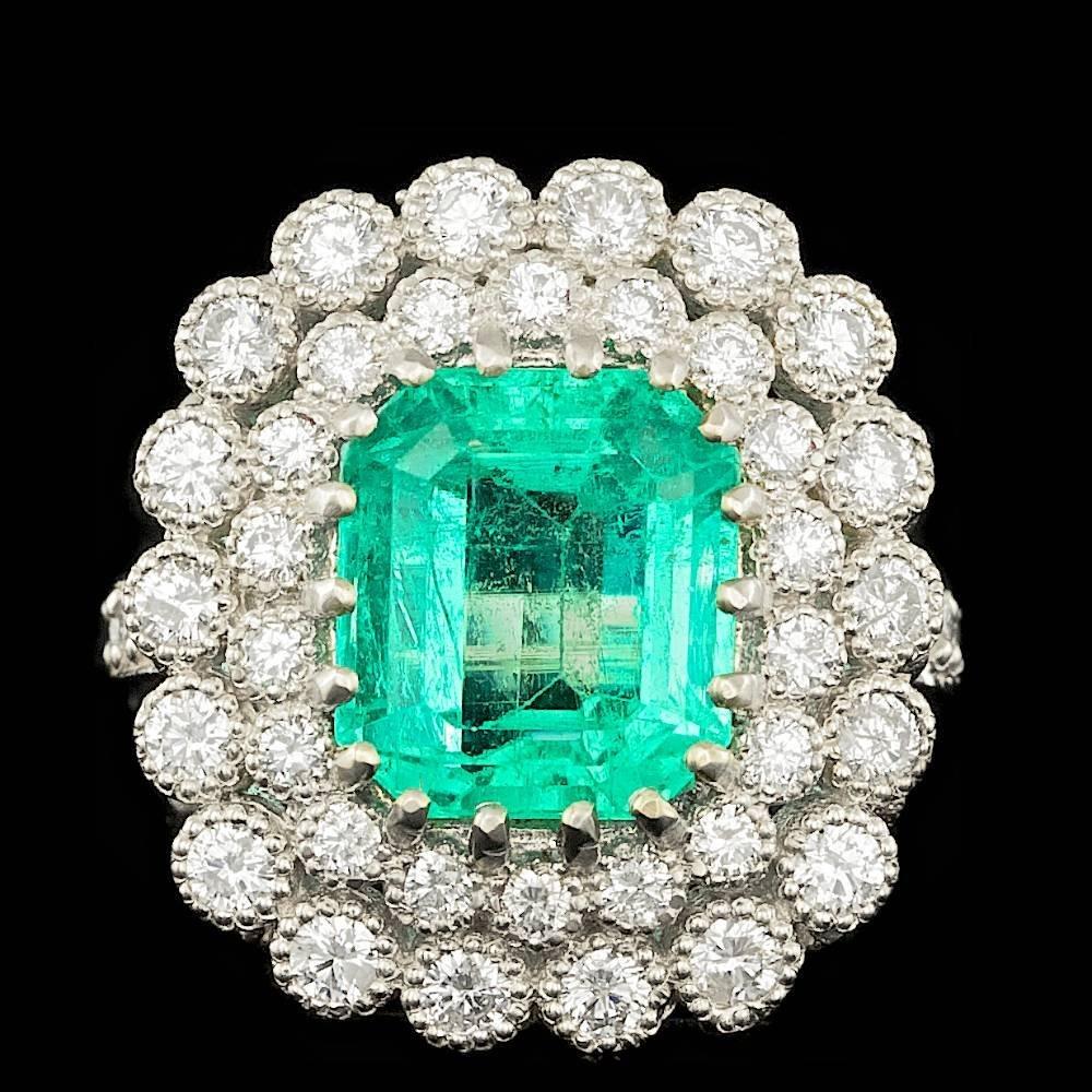 14k White Gold 5.00ct Emerald 1.65ct Diamond Ring