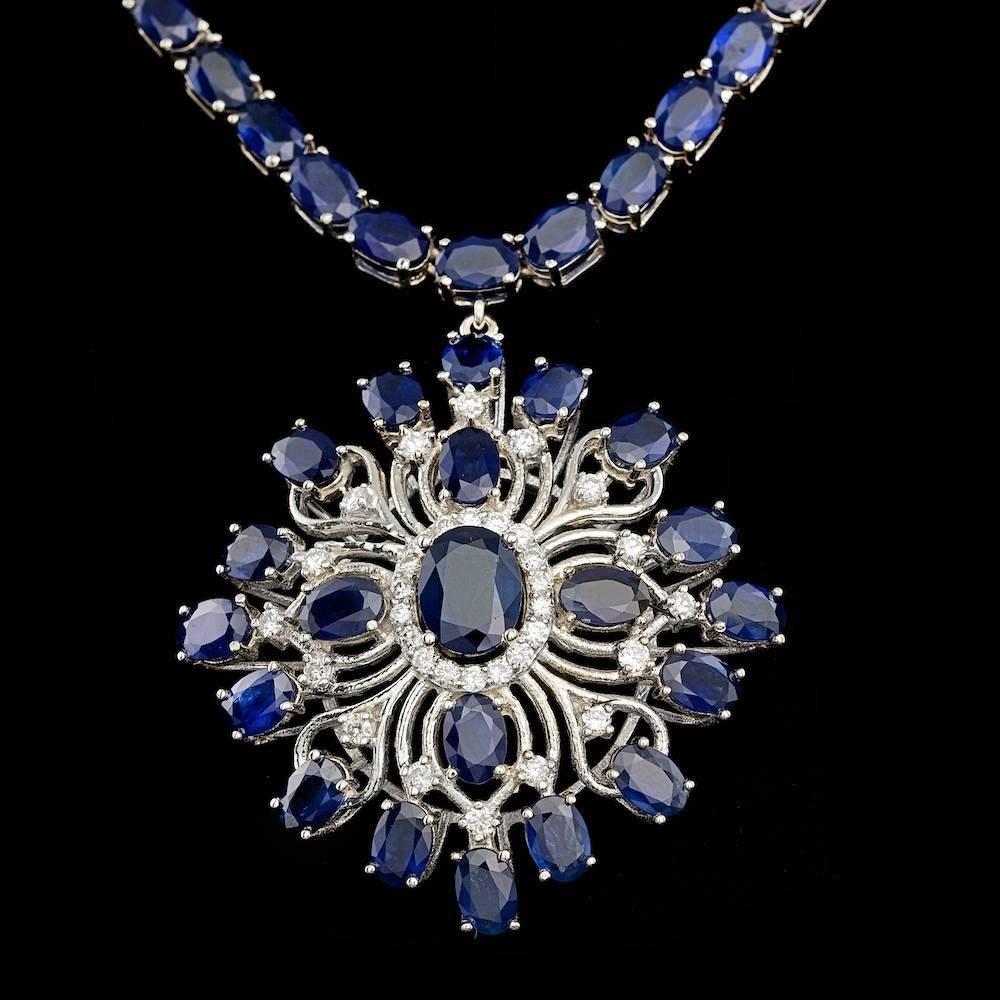 14k Gold 55.3ct Sapphire 1.00ct Diamond Necklace