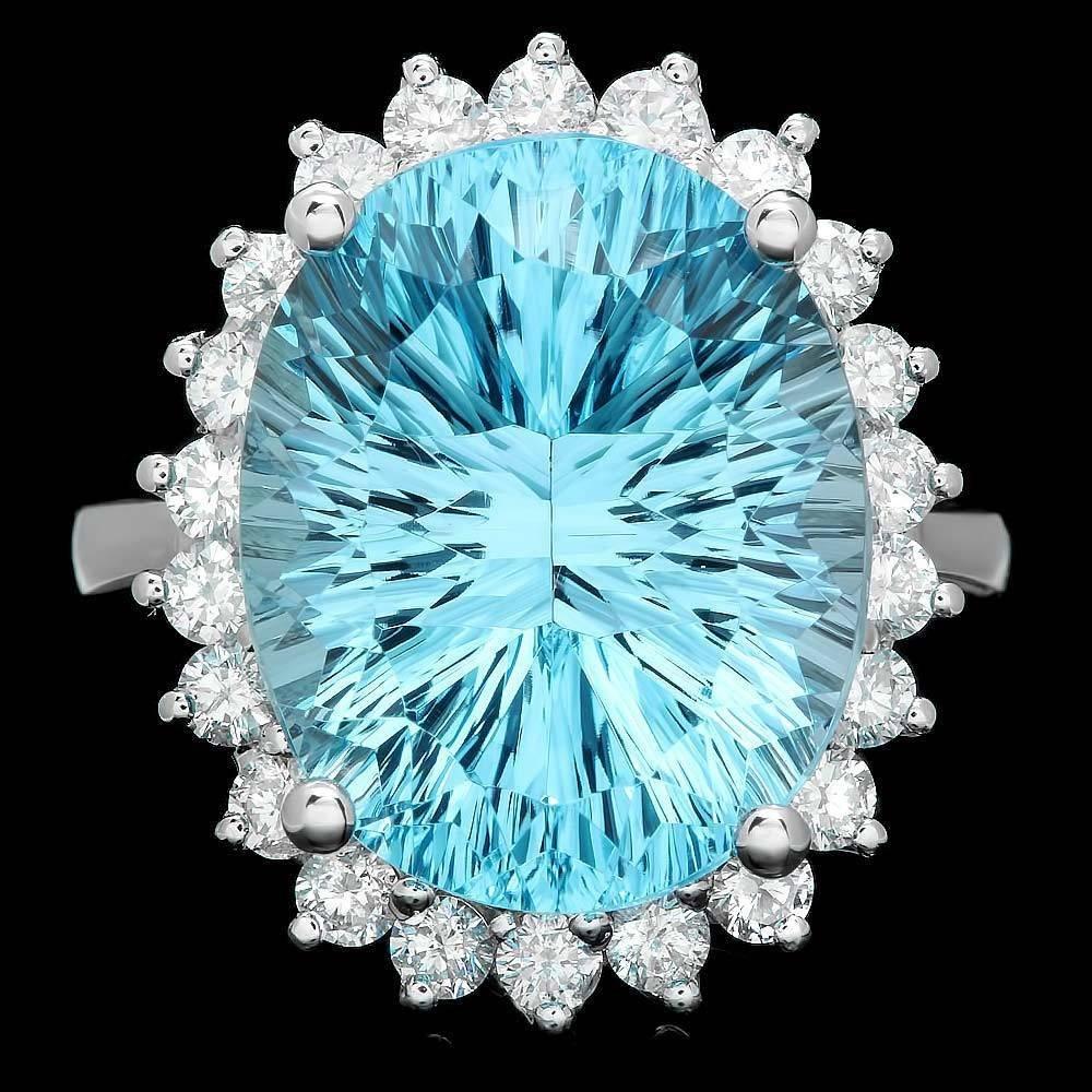 14k White Gold 14.50ct Topaz 1.00ct Diamond Ring