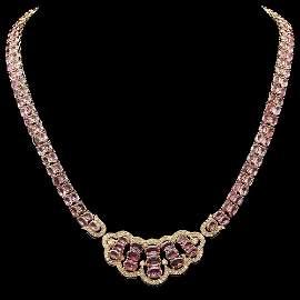 14k Gold 28.80ct Sapphire 1.80ct Diamond Necklace