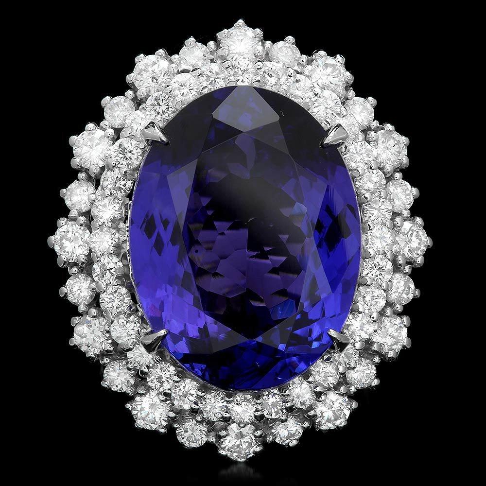 18k Gold 16.00ct Tanzanite 2.00ct Diamond Ring