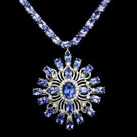 14k Gold 43ct Tanzanite 1.00ct Diamond Necklace