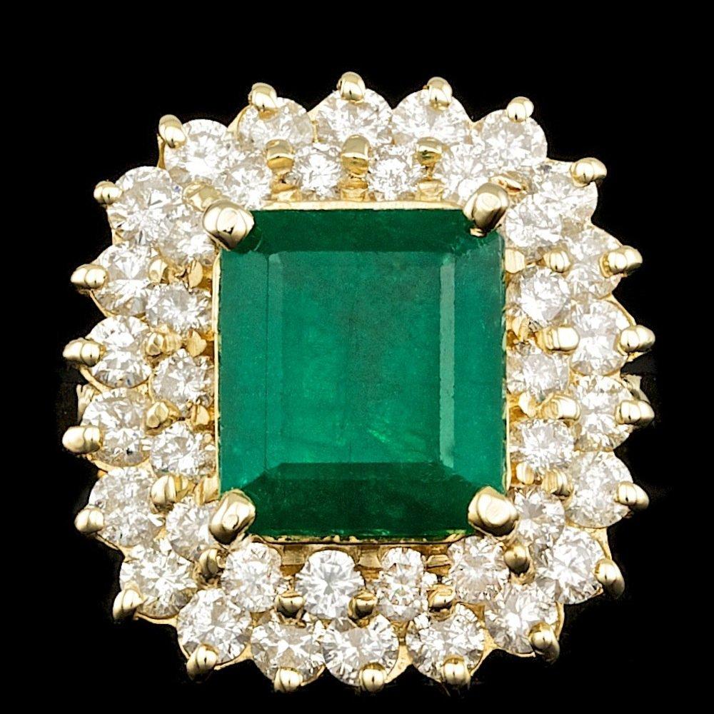 14k Gold 4.50ct Emerald 2.25ct Diamond Ring