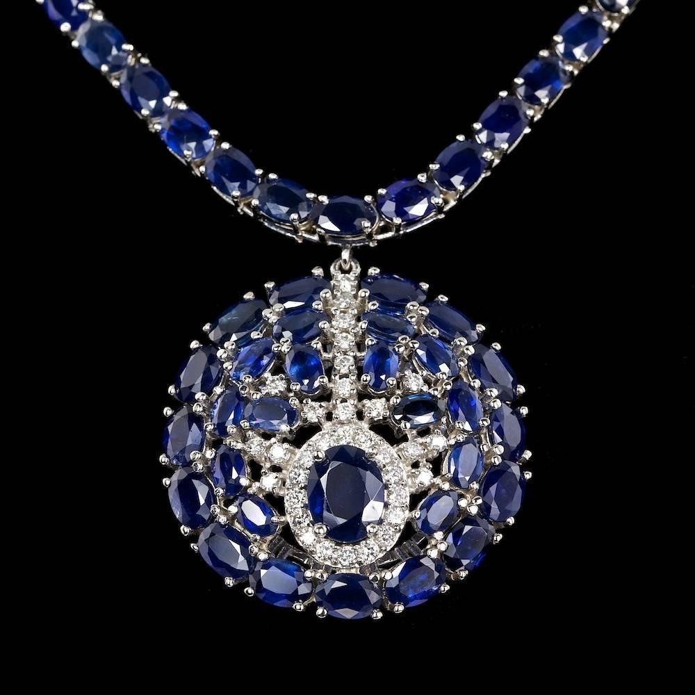 14k Gold 57.3ct Sapphire 0.80ct Diamond Necklace