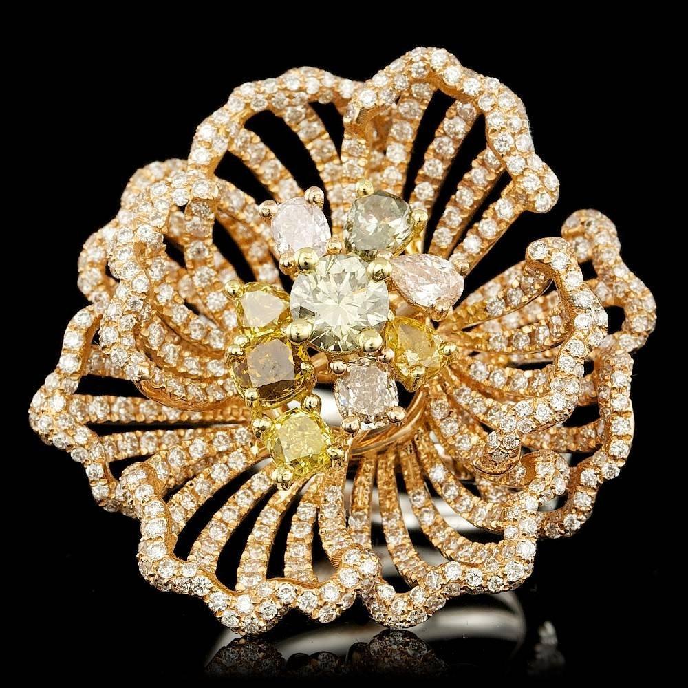18k Multi-Tone Gold 4.31ct Diamond Ring