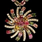 14k 38.3ct Tourmaline 1.00ct Diamond Necklace