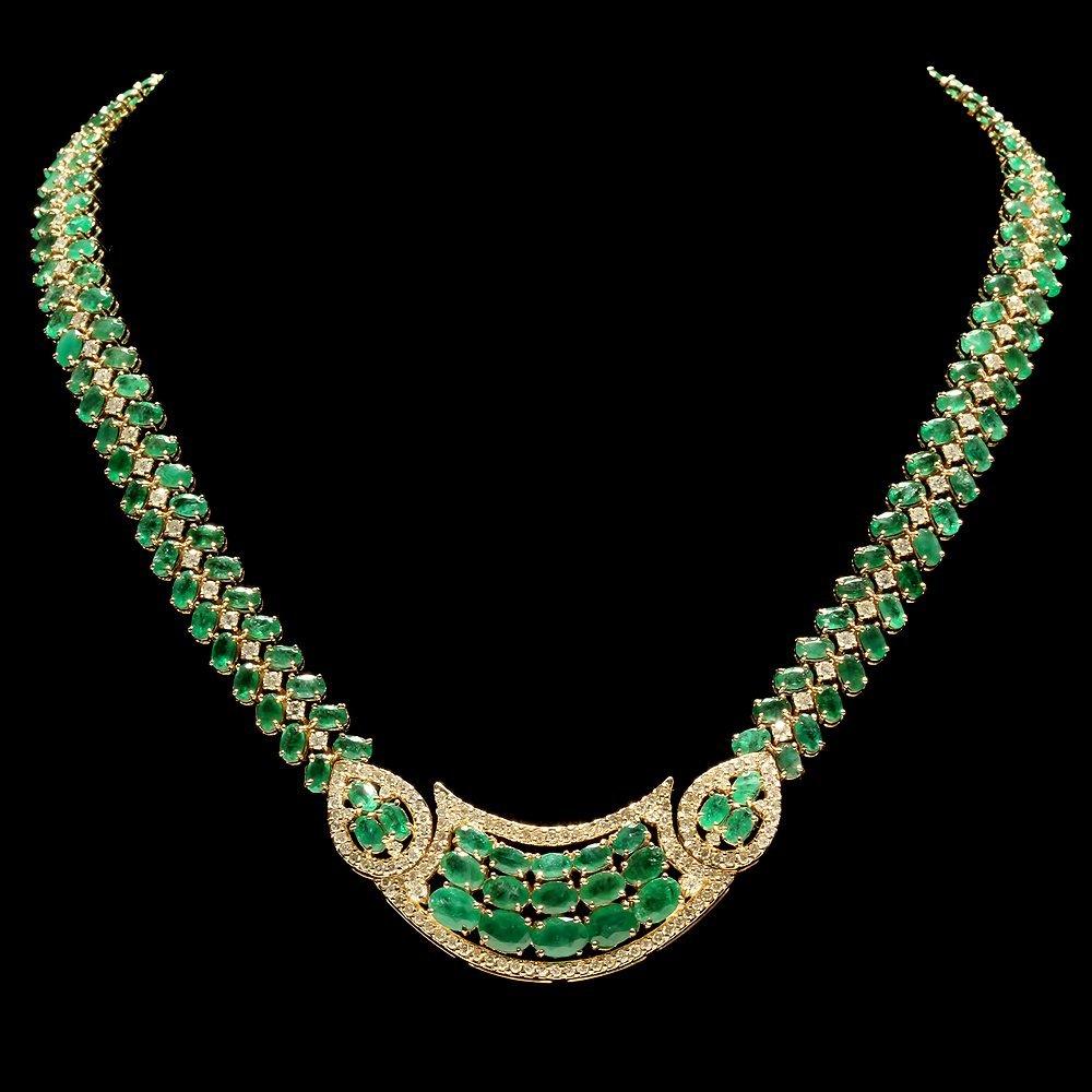 14k Gold 39.00ct Emerald 5.00ct Diamond Necklace