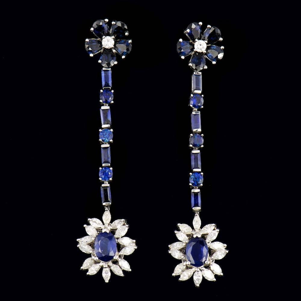 14k Gold 15.00ct Sapphire 2.50ct Diamond Earrings