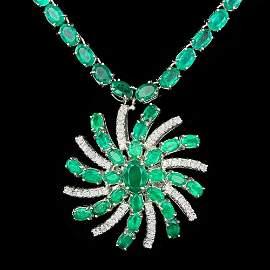 14k Gold 36ct Emerald 1.00ct Diamond Necklace