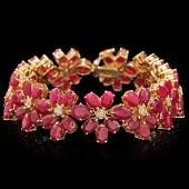 14k Gold 55.00ct Ruby 0.75ct Diamond Bracelet