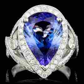 14k Gold 6.00ct Tanzanite 1.20ct Diamond Ring