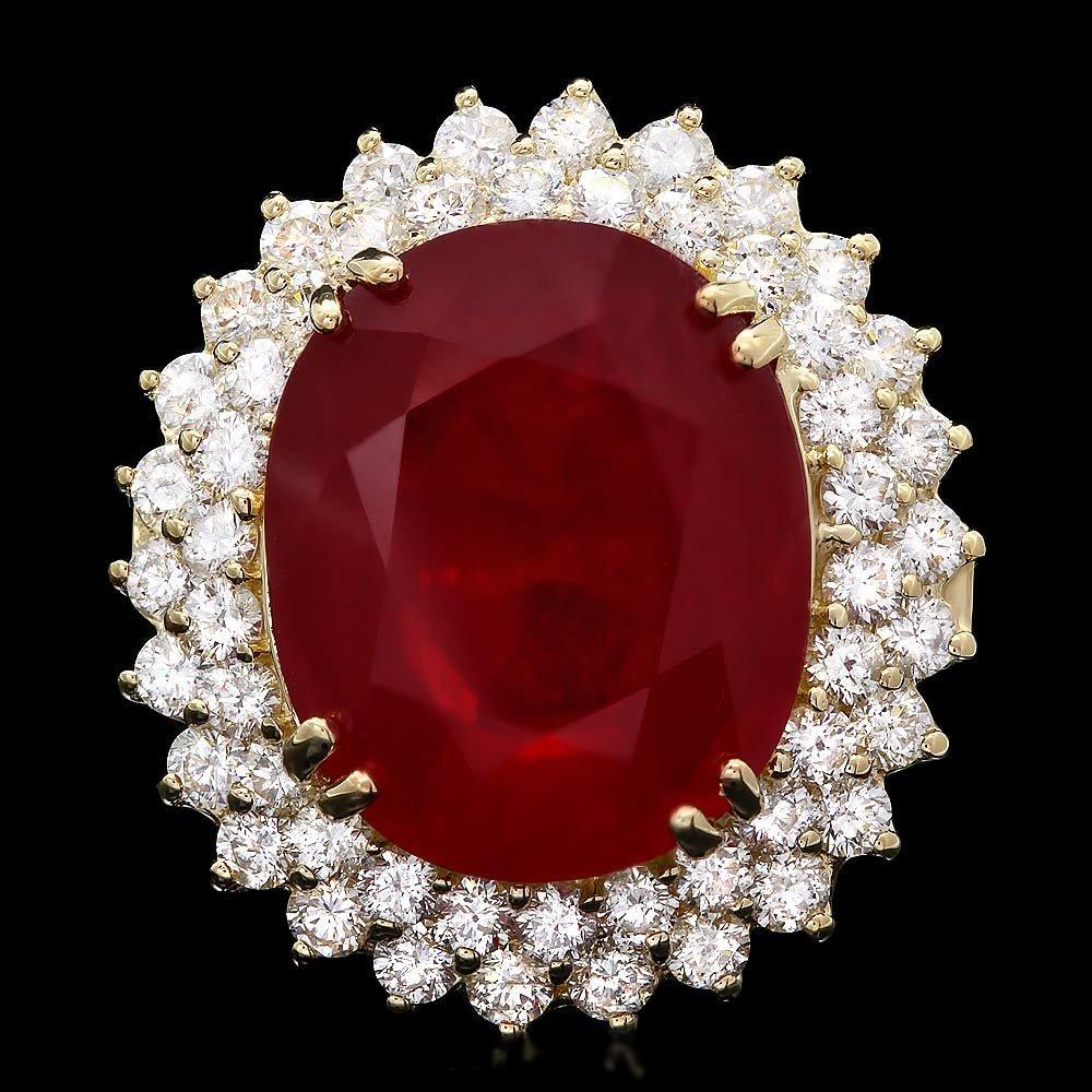 14k Yellow Gold 20.00ct Ruby 3.70ct Diamond Ring