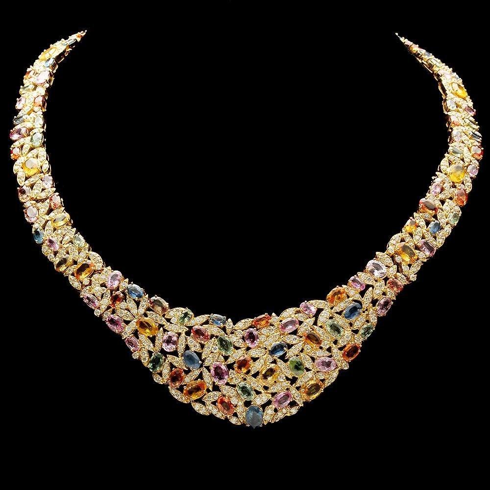 14k 61.00ct Sapphire 12.50ct Diamond Necklace