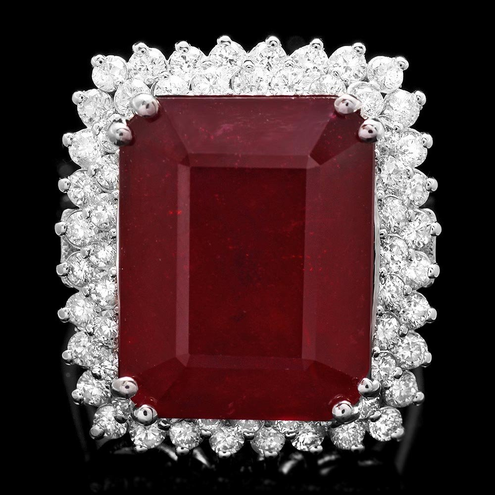 14k White Gold 20.00ct Ruby 1.45ct Diamond Ring