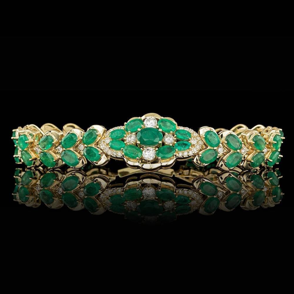 14k Gold 17.5ct Emerald 1.65ct Diamond Bracelet