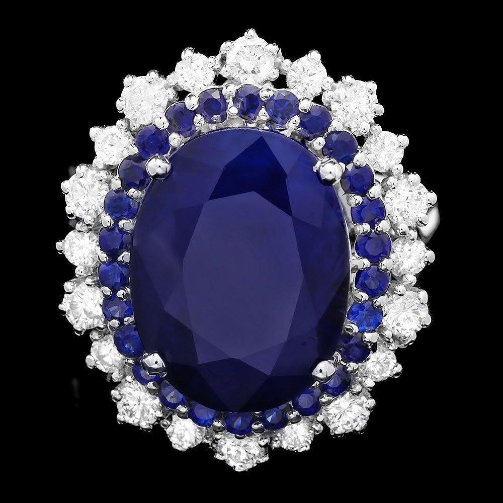 14k Gold 8.15ct Sapphire 0.90ct Diamond Ring