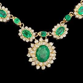 14k Gold 30ct Emerald 4.50ct Diamond Necklace