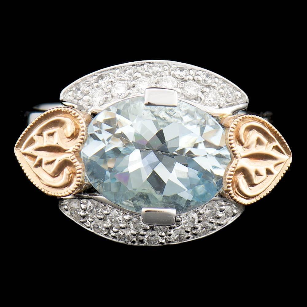 14k Gold 3.00ct Aquamarine 0.40ct Diamond Ring