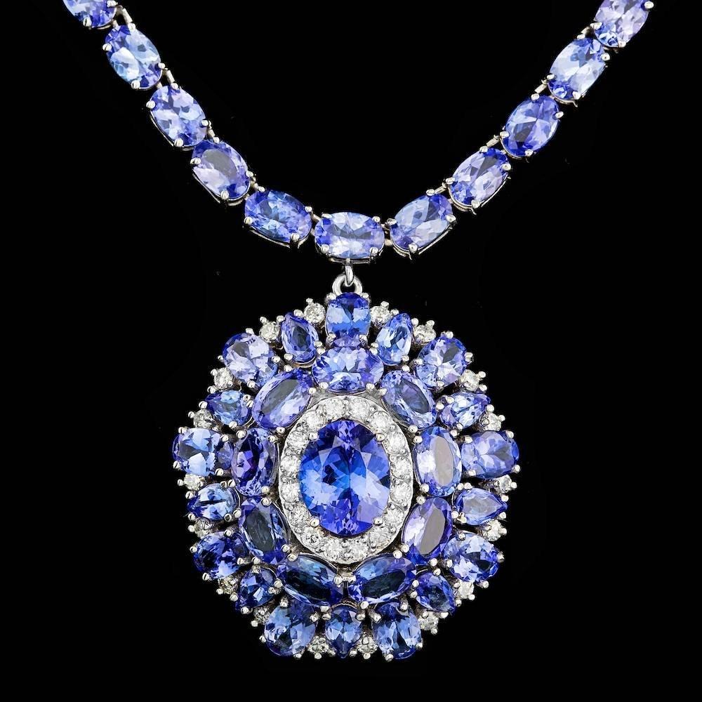 14k Gold 55ct Tanzanite 1.00ct Diamond Necklace