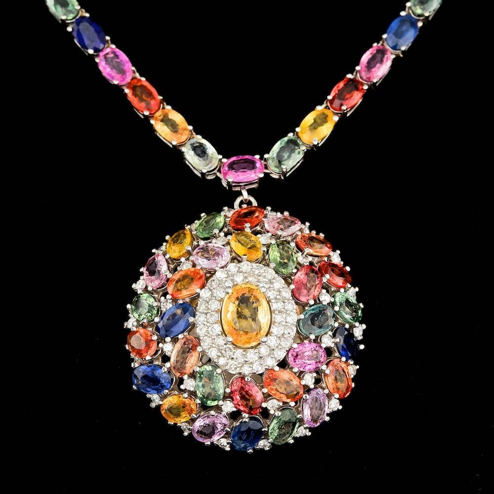 14k Gold 59.5ct Sapphire 1.45ct Diamond Necklace