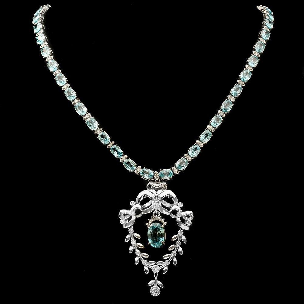 14k Gold 63.35ct Zircon 2.36ct Diamond Necklace