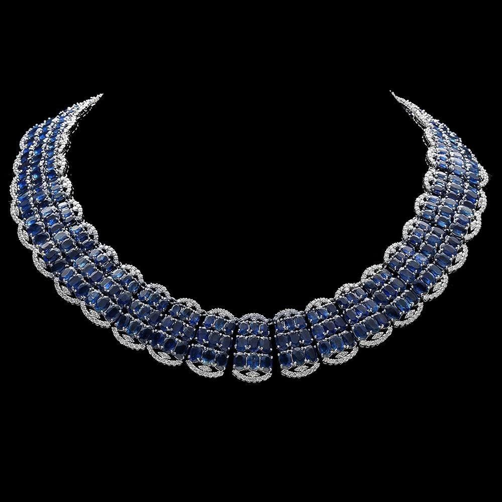 14k 155.00ct Sapphire 10.50ct Diamond Necklace