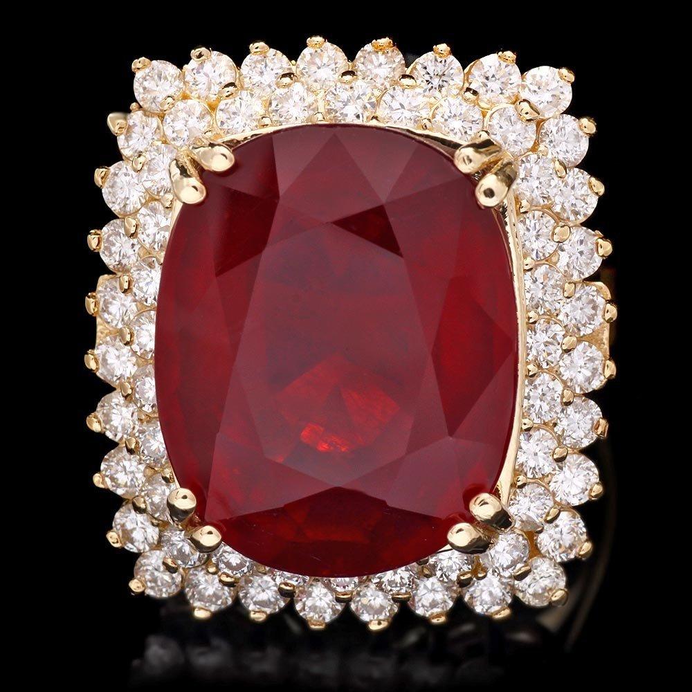 14k Yellow Gold 15.00ct Ruby 1.50ct Diamond Ring