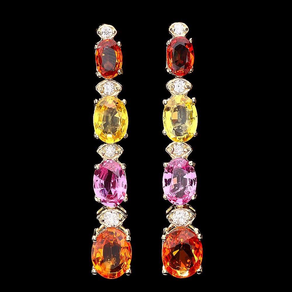 14k Gold 8ct Sapphire 0.30ct Diamond Earrings