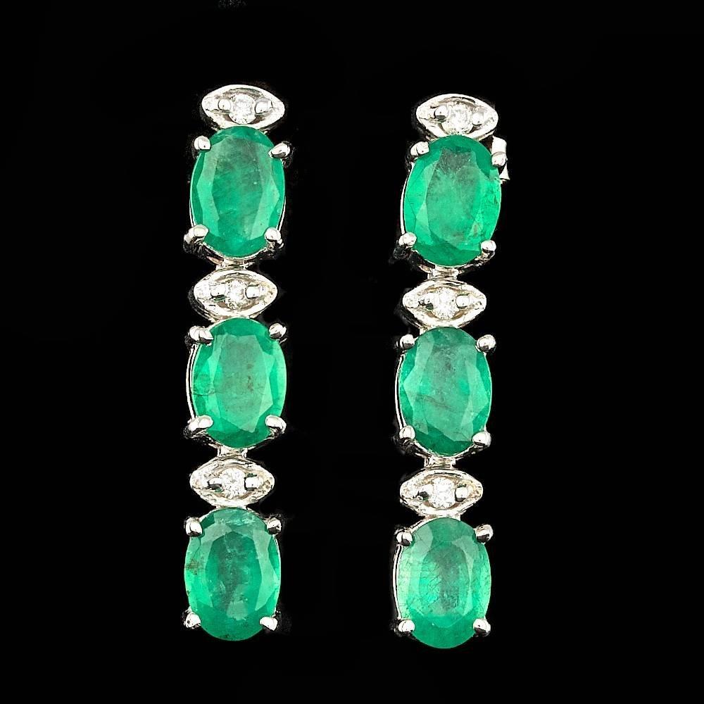 14k Gold 4.00ct Emerald 0.12ct Diamond Earrings