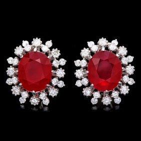 14k Gold 16.00ct Ruby 2.50ct Diamond Earrings