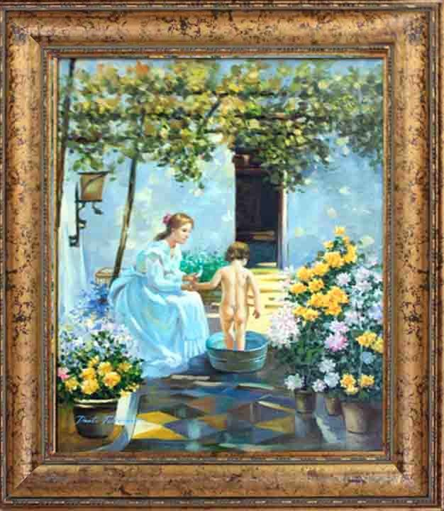 Cellini-Original Oil Painting Hand Signed-Bathtime