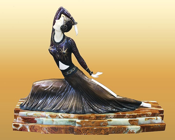 Demetre Chiparus-Bronze and Ivory Sculpture-Clara
