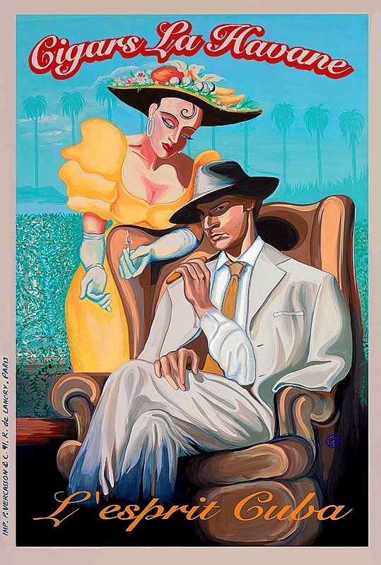 Vintage French Poster Cuban Cigars