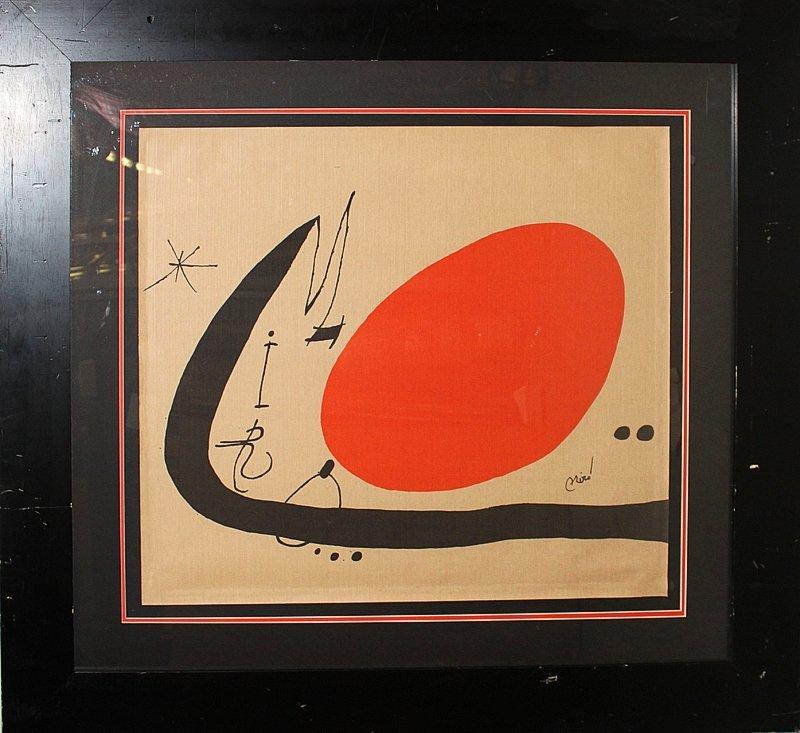 Joan Miro Lithograph on Cloth