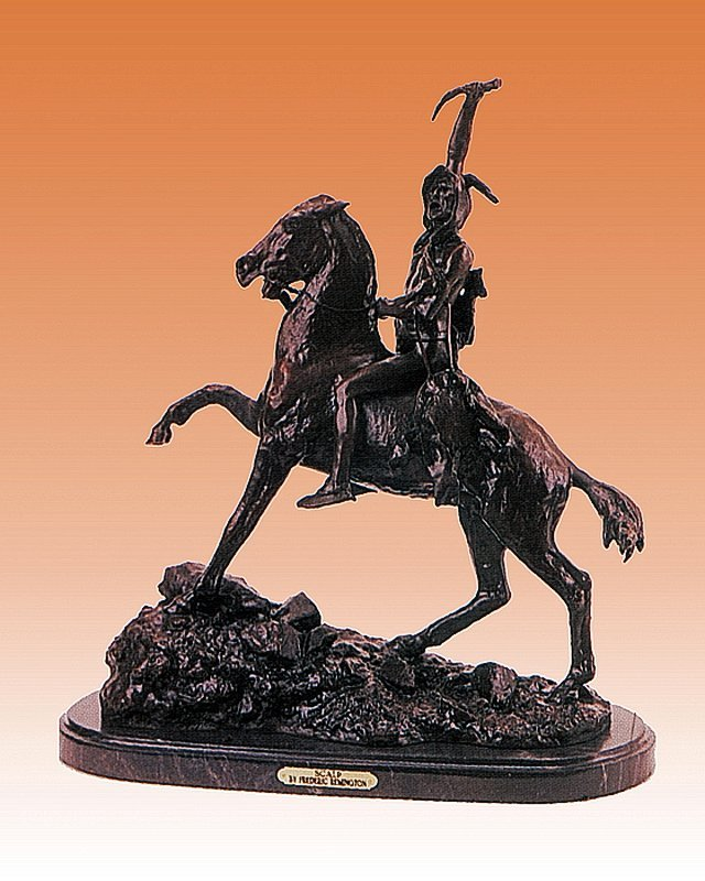 Frederic Remington Scalp Bronze Sculpture